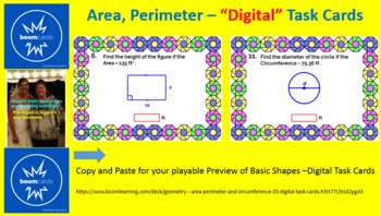 "AREA, PERIMETER, CIRCUMFERENCE BASIC SHAPES: ""DIGITAL"" BOOM CARDS (35 TASK CAR"