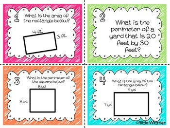 AREA & PERIMETER Task Cards {Aligned to Common Core}