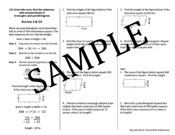 AREA Problem Solving Mini Lessons & Homework Review: Rectangles & Parallelograms