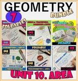 AREA. UNIT 10 GEOMETRY Interactive Notebooks Bundle *Dista