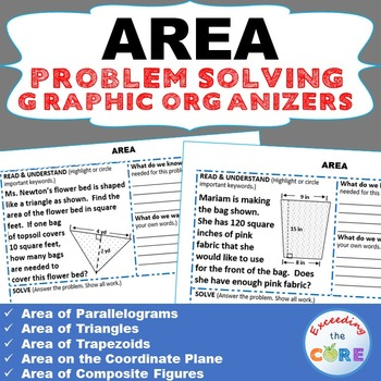 AREA of TRIANGLE, PARALLELOGRAM, TRAPEZOID Word Problems w
