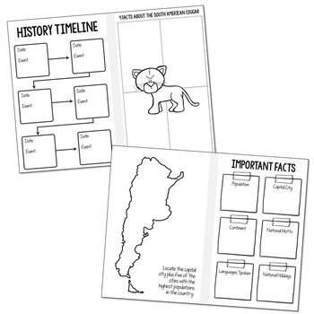 ARGENTINA Country Research Project | Foldable Book | No-Prep | Graphic Organizer