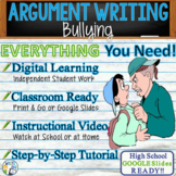 Argumentative Writing Lesson / Prompt w/ Digital Resource Bullying Cyberbullying