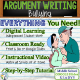 Argumentative Writing Lesson Prompt w/ Digital Resource - Bullying Cyberbullying