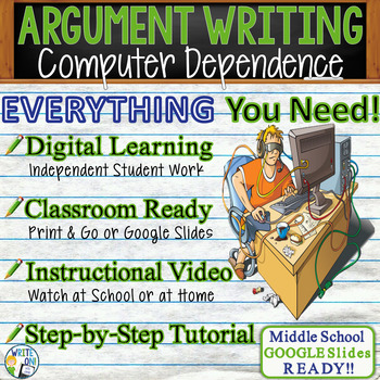 ARGUMENTATIVE / ARGUMENT WRITING PROMPT  Dependence on Computers - Middle School