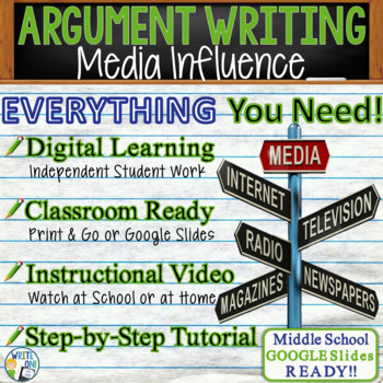 ARGUMENTATIVE / ARGUMENT WRITING PROMPT  - Media Influence - Middle School