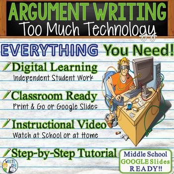 Argumentative Writing Lesson / Prompt w/Digital Resource – Too Much Technology