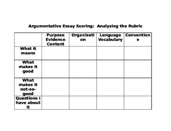 ARGUMENTATIVE ESSAY SCORING: ANALYZING THE RUBRIC