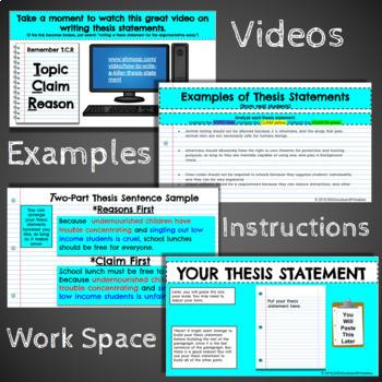 ARGUMENTATIVE ESSAY: Opinion Writing: Google Classroom: Digital or Printable