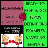 ARGUMENTATIVE Persuasive Print &Go Examples Template Terms