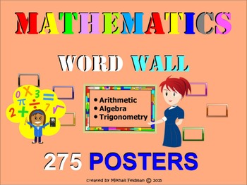 MATH WORD WALL: ARITHMETIC, ALGEBRA, TRIGONOMETRY 275 posters Vocabulary Builder