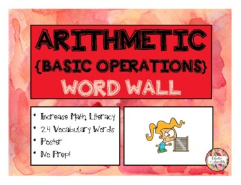 ARITHMETIC - Basic Operations - WORD WALL (Math Literacy)