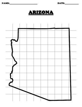 ARIZONA Coordinate Grid Map Blank