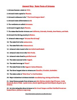 ARIZONA FACTS UNIT (GRADES 3 - 5)