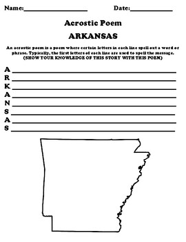 ARKANSAS Acrostic Poem Worksheet