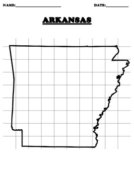 ARKANSAS Coordinate Grid Map Blank