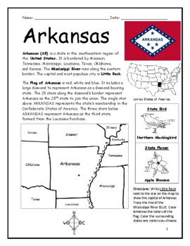 photo relating to Printable Map of Arkansas titled ARKANSAS - printable handout with map and flag as a result of