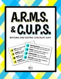 ARMS & CUPS Revising and Editing Checklist Slips / Sheets of 8 Slips