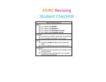 ARMS Student Checklist