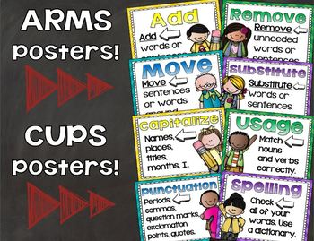 ARMS and CUPS Writing Posters Revising and Editing Bundle
