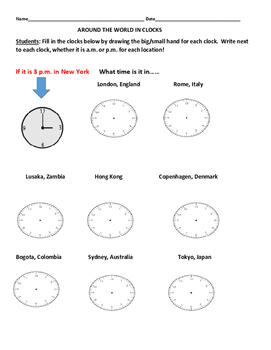 AROUND THE WORLD WITH CLOCKS- A MATH ACTIVITY
