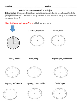 AROUND THE WORLD WITH  CLOCKS/SPANISH  MATH ACTIVITY