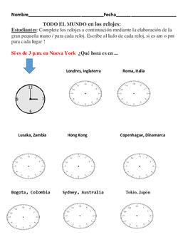 AROUND THE WORLD WITH  CLOCKS/SPANISH  MATH ACTIVITY