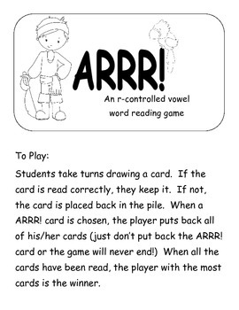ARR! The Pirate way to practice R- controlled vowels   Printer Friendly version