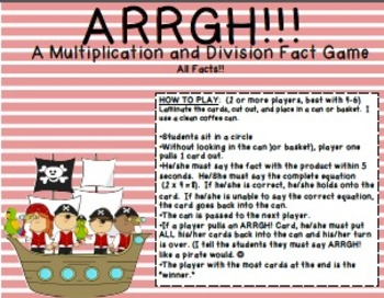 ARRGH!! Multiplication and Division Fact Game
