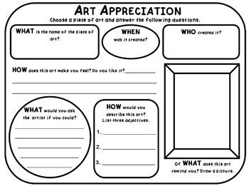 ART APPRECIATION & ARTIST REFLECTION PACK simple exercises for ANY art & artist