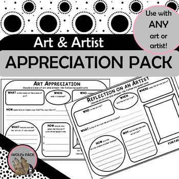 ART APPRECIATION & ARTIST REFLECTION PACK simple exercises