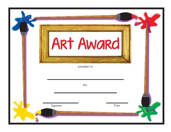 "ART Award on page size 8.5"" x 11"""