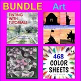 ART BUNDLE: Watercolors, Painting, Color Sheets, Art Lessons, Veterans Day (K-7)