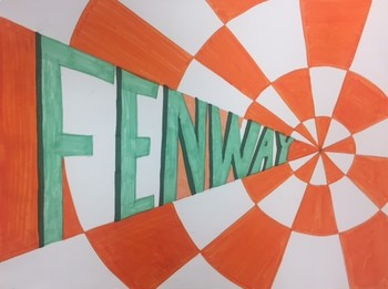 ART CLASS One Point Perspective Name Vanishing Art with Checkerboard Pattern