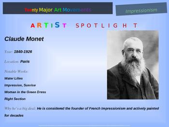 "ART HISTORY ""IMPRESSIONISM"" 25 rich slides w/ graphics, samples, handouts & more"