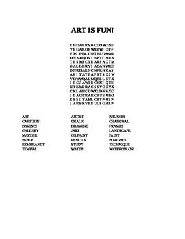 ART IS FUN WORD SEARCH!