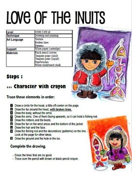 Valentine's Day art activity and lesson plan for for kids:  Inuits love , Winter