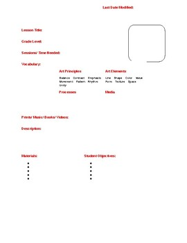 ART LESSON PLAN TEMPLATE (editable)