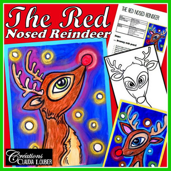 Christmas Art Activity and Lesson Plan for Kids: Red Nosed Reindeer, Winter