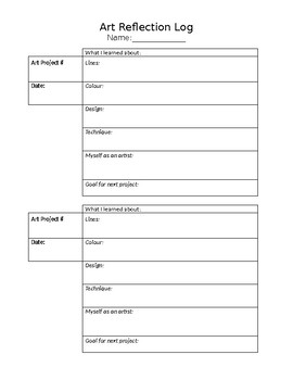 ART REFLECTION TEMPLATE LOG