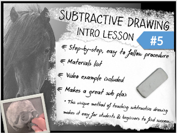 Subtractive / Reductive Charcoal Drawing Intro Lesson #5 from Art Ed Connection.