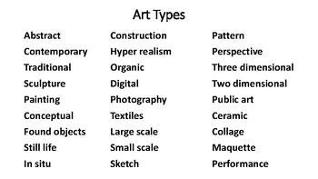 ART Vocabulary - Word List