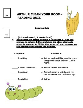 ARTHUR, CLEAN YOUR ROOM! READING QUIZ AND ANS KEY