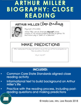 ARTHUR MILLER CLOSE READ + READING STRATEGY MINI LESSON