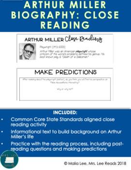 ARTHUR MILLER CLOSE READ + READING STRATEGY MINI LESSON
