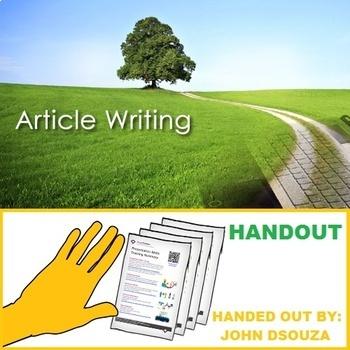 ARTICLE WRITING FORMATS: HANDOUTS