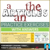 ARTICLES: WORKSHEETS WITH ANSWERS