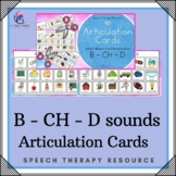 97 ARTICULATION CARDS (B - CH - D sounds with Visual Cues) Speech Therapy