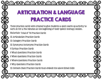 ARTICULATION & LANGUAGE PRACTICE CARDS