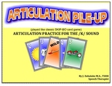 SPEECH THERAPY ARTICULATION PILE-UP for /K/: (classic SKIP-BO like Card game)